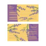 Set invitation cards with flower frame Lavender Stock Images