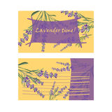 Set invitation cards with flower frame Lavender Royalty Free Stock Photos