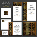 Set of the invitation cards with the gold ornament. Store opening. Collection: cards, envelope, business card. Set of the invitation cards with the gold royalty free illustration