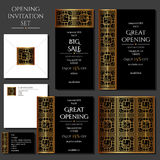 Set of the invitation cards with the gold ornament. Store opening. Collection: cards, envelope, business card. Set of the invitation cards with the gold vector illustration