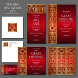 Set of the invitation cards with the gold ornament. Store opening. Collection: cards, envelope, business card. Set of the invitation cards with the gold stock illustration