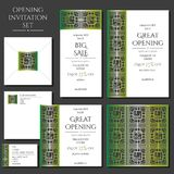 Set of the invitation cards with the green ornament. Store opening. Collection: cards, envelope, business card. Set of the invitation cards with the green stock illustration