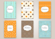 Set of invitation cards with hand drawn patterns. Invite wedding templates or greeting cards. vector illustration