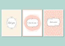 Set of invitation cards with hand drawn patterns. Wedding design. Love you, save the date, best wishes - quotes. stock illustration