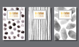 Set of invitation cards with monochrome watercolor spots and str. Invitation.Template.Cards with monochrome watercolor spots and stripes background..Unusual Stock Photography