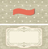 Set of invitation cards on polka dots background Royalty Free Stock Photo