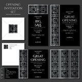Set of the invitation cards with the silver ornament. Store opening. Collection: cards, envelope, business card. Stock Images