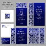 Set of the invitation cards with the silver ornament. Store opening. Collection: cards, envelope, business card. Stock Photo