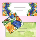 Set of invitation cards with watercolor flower elements. Royalty Free Stock Photo