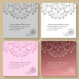 Set of invitation or greeting cards with beautiful floral ornament Royalty Free Stock Photo