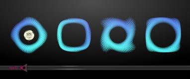 Set invitation template frame, on a black background. Blue colour Stock Image