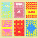 Set of  invitation templates. Colorful baby showery card. Royalty Free Stock Photo