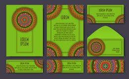 Set of invitation templates with colorful tribal mandalas. Ethni Royalty Free Stock Photo