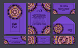 Set of invitation templates with colorful tribal mandalas. Ethni Royalty Free Stock Image