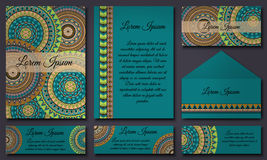Set of invitation templates with colorful tribal mandalas. Ethnic wedding and invitation cards. Stock Photo