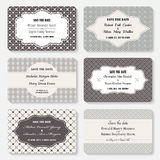 Set of  invitation templates. Elegant vintage wedding day card.  Stock Photos