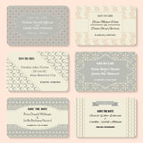 Set of  invitation templates. Elegant vintage wedding day card.  Stock Image