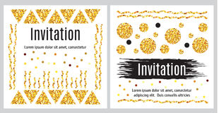 Set of invitation templates with golden glitter. Set  of greeting cards templates in black, white and gold. Abstract strokes of paint and geometric pattern with Royalty Free Stock Photography