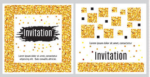 Set of invitation templates with golden glitter. Set  of greeting cards templates in black, white and gold. Abstract strokes of paint and geometric pattern with Royalty Free Stock Images