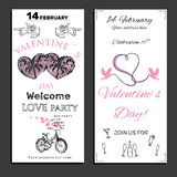 Set invitation for Valentines day on chalk board. Vector illustration of set invitation for Valentines day on chalk board background. Template for celebration Royalty Free Stock Images