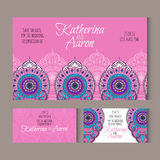 Set of invitation wedding cards with place for text Stock Image