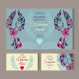Set of invitation wedding cards with swans Stock Image