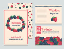 Set of invitational berries cards. Can be used for Save The Date, baby shower, mothers day, valentines day, birthday cards, wedding. Vector illustration in Stock Photo