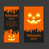 Set Invitational Template cards for Halloween parties. With space for text Stock Photography