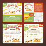 Set invitations birthday Stock Photos