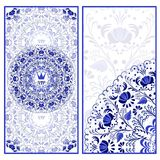Set of  invitations cards with a beautiful pattern in Gzhel style. Royalty Free Stock Images