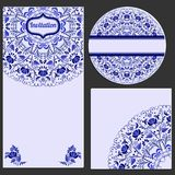 Set invitations cards with a beautiful pattern in Gzhel style. Stock Image