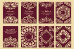 Set of invitations, cards with ethnic henna Royalty Free Stock Photo