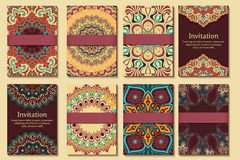 Set of invitations, cards with ethnic henna Stock Photography