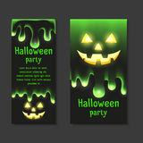 Set invitations Halloween party with clear mucus dripping Stock Images