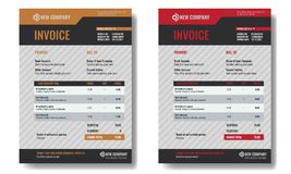 Set of Invoice template sample with trendy minimalism design. Royalty Free Stock Image