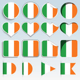 Set of Ireland flags in a flat design Royalty Free Stock Photo