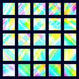 Set of iridescent disco textures. Holographic prism backgrounds. Rainbow glow reflections of light dispersion and reflection in. The glass royalty free illustration