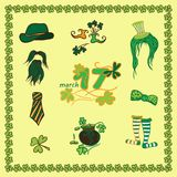 Set Irish st patrick day pattern with flat symbols of the holiday in different colors. Vector illustration Royalty Free Stock Photo