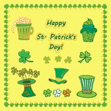 Set Irish st patrick day pattern with flat symbols of the holiday in different colors. Vector illustration Stock Image