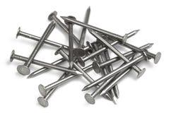 Set of iron Nails. Isolated on white background stock images