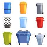 Set iron or plastic bucket, trash can. Isolated on white background. Vector illustration royalty free illustration
