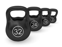 Set of iron weights disposed by diagonal Royalty Free Stock Photography