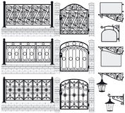 Set of iron wrought fences, gates, signboards, lan. Set of iron wrought fences, gates, signboards and lanterns with decorative ornaments. Vector illustration royalty free illustration