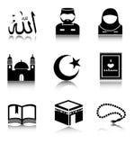 Set of Islam icons. Set of black Islam icons on a white background royalty free illustration