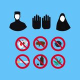 Set of Islamic culture and faith Vector Icons.Prohibition sign. Royalty Free Stock Photos
