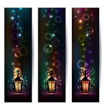 Set islamic light banners with lantern Stock Images