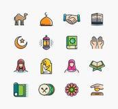 Set Islamskie ikony, Ramadan Kareem Zdjęcia Stock