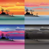 Set of isle landscapes. Simple and nice illustration Stock Photo