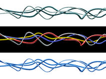 Set of isolated 3d multicolored cables. Isolated 3d  cables. Clipping path included Stock Photo