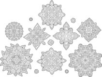 Set with isolated abstract coloring book elements Stock Image